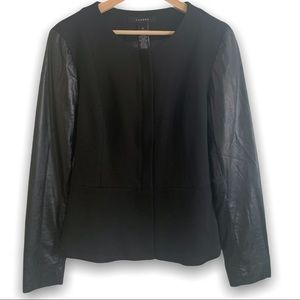 Sandro Peplum Vegan Leather Sleeved Blazer Jacket